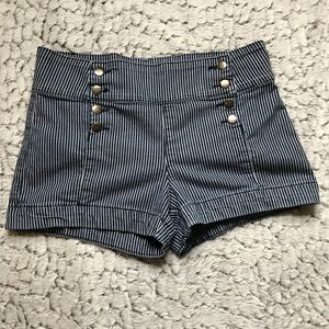 2.1 Denim Pinstripe Sailor Style Shorts